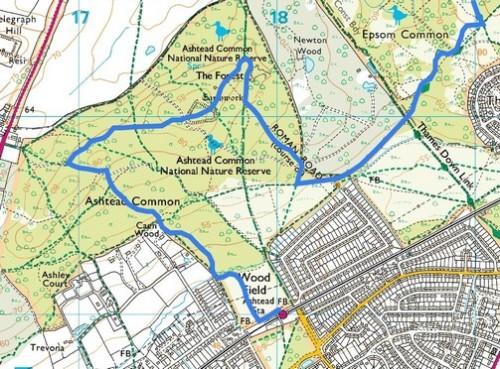 Chessington to Ashtead, Route Map Part 3