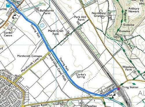 Tring to Cheddington; Route Map Part 1
