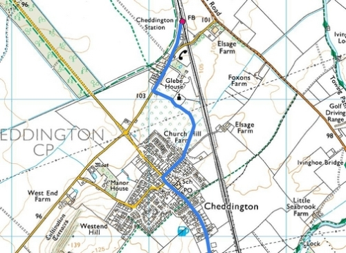 Tring to Cheddington; Route Map Part 4