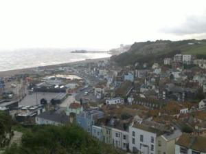 Looking down on Hastings Old Town from East Hill
