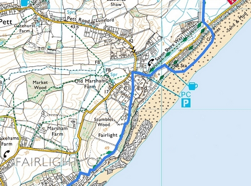 Rye to Hastings; Route Map Part 5