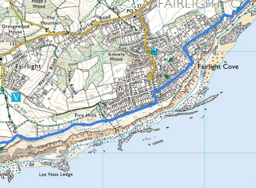 Rye to Hastings; Route Map Part 6