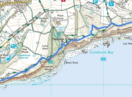 Rye to Hastings; Route Map Part 7