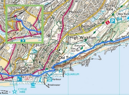 Rye to Hastings; Route Map Part 8